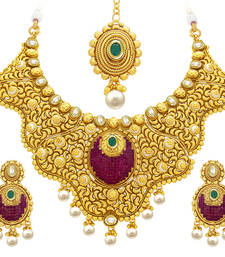 Buy Traditionally Invisible Setting Gold Plated American Diamond Necklace Set For Women necklace-set online