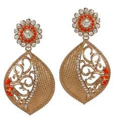 Buy Orange Color Meena Work polki Earring danglers-drop online