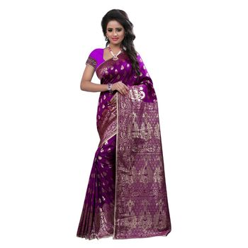 purple embroidered banarasi silk saree With Blouse