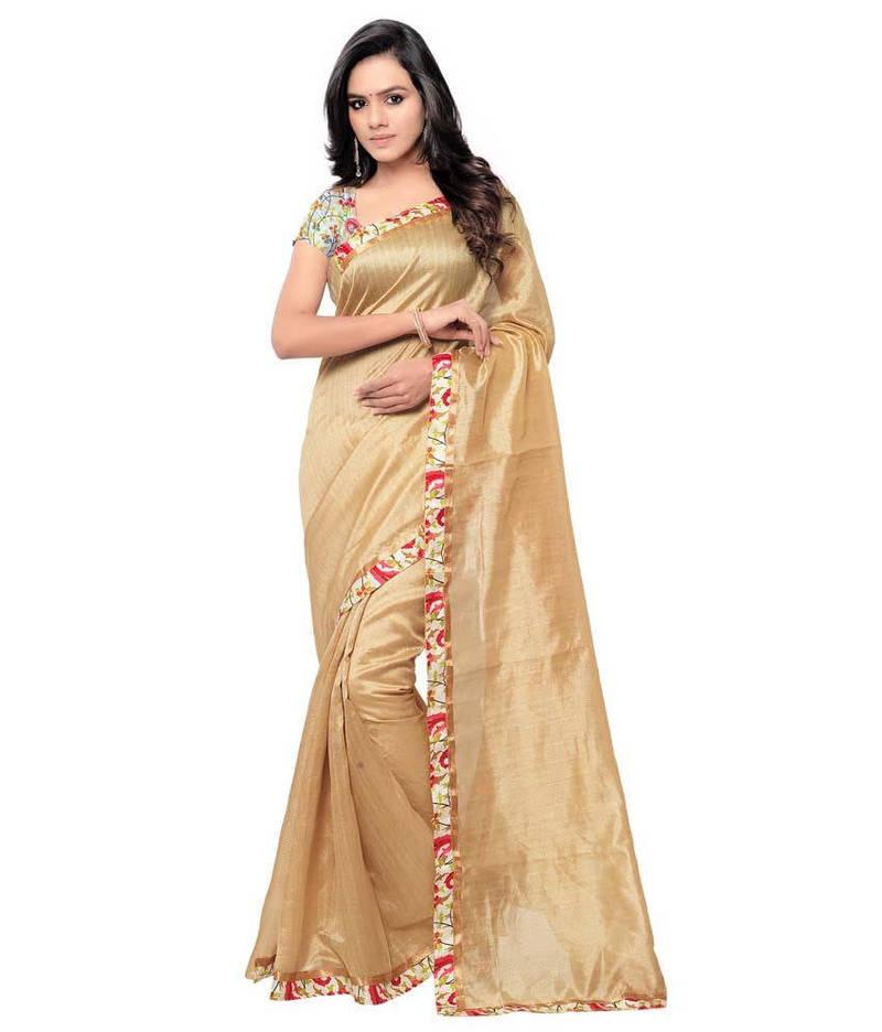 Buy Beige Plain Silk Saree With Blouse Online