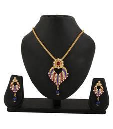 Buy Pink Blue Pendant Earrings Set for women Pendant online