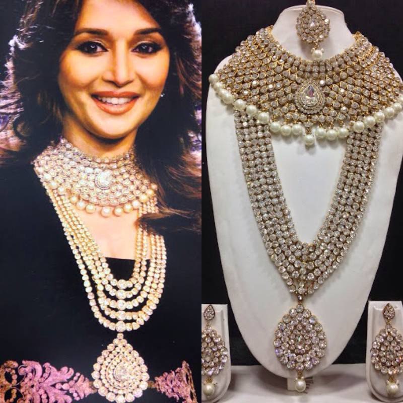 Buy madhuri dixit famous jewelry set in white with pearls for Top fashion jewelry designers