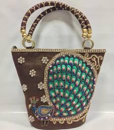 Buy Peacock Design Embroidery Handbag in Brown handbag online