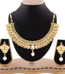 Buy Exclusive gold finishing pearl drop temple jewellery coin necklace set necklace-set online