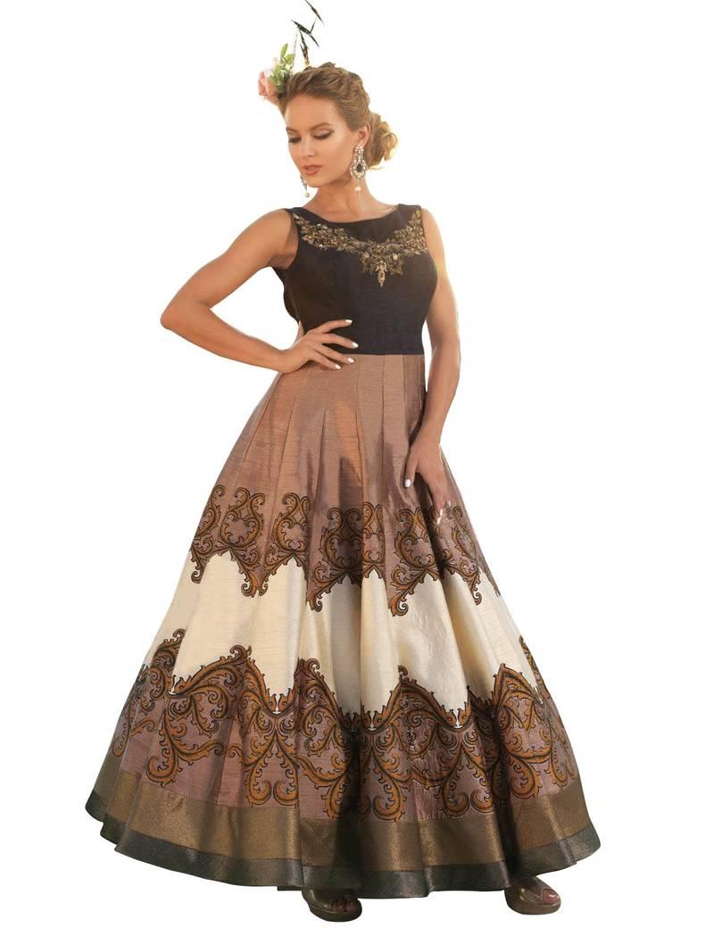 Buy Brown raw silk printed semi stitiched indian wedding bridal ...