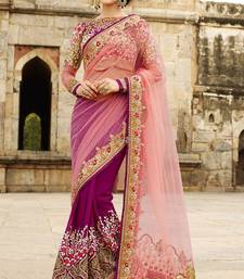 Buy Purple embroidered Net saree With Blouse net-saree online