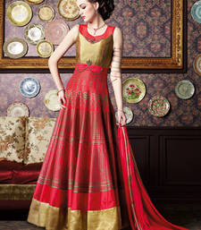 Buy Red zurich silk and brocade embroidered semi stitiched salwar with dupatta party-wear-salwar-kameez online