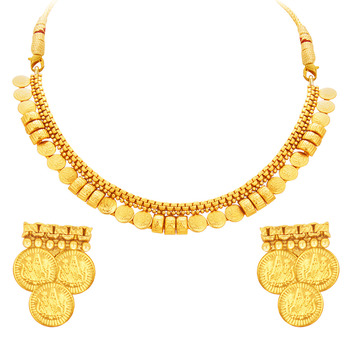 Exquisite Laxmi Temple Coin Gold Plated Necklace Set For Women