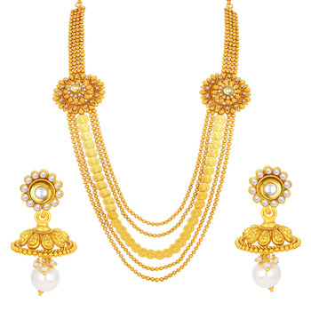 Fancy Five String Laxmi Temple Coin Gold Plated Necklace Set For Women