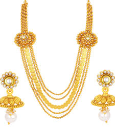 Buy Fancy Five String Laxmi Temple Coin Gold Plated Necklace Set For Women necklace-set online