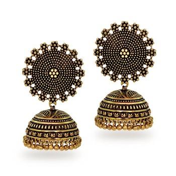 buy oxidised gold plating handmade jhumka earrings online