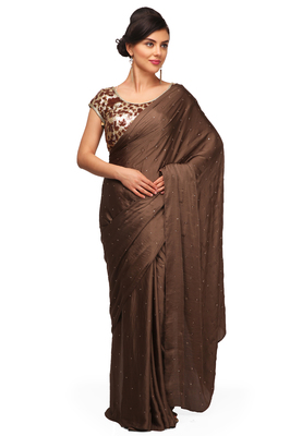 Brown plain satin saree With Blouse