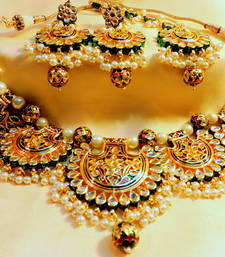 Buy Designer jaipuri kundan rajwara gold plated necklace sets bridal-set online