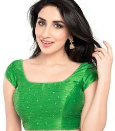 Buy Parrot green no embroidery stitched dupion silk readymade blouses readymade-blouse online