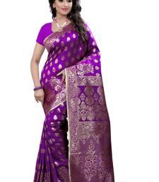 Buy Purple plain art silk saree With Blouse art-silk-saree online