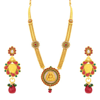 Appealing Laxmi Temple Gold Plated Necklace Set For Women