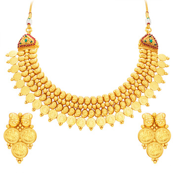 Fabulous Laxmi Temple Coin Gold Plated Necklace Set For Women