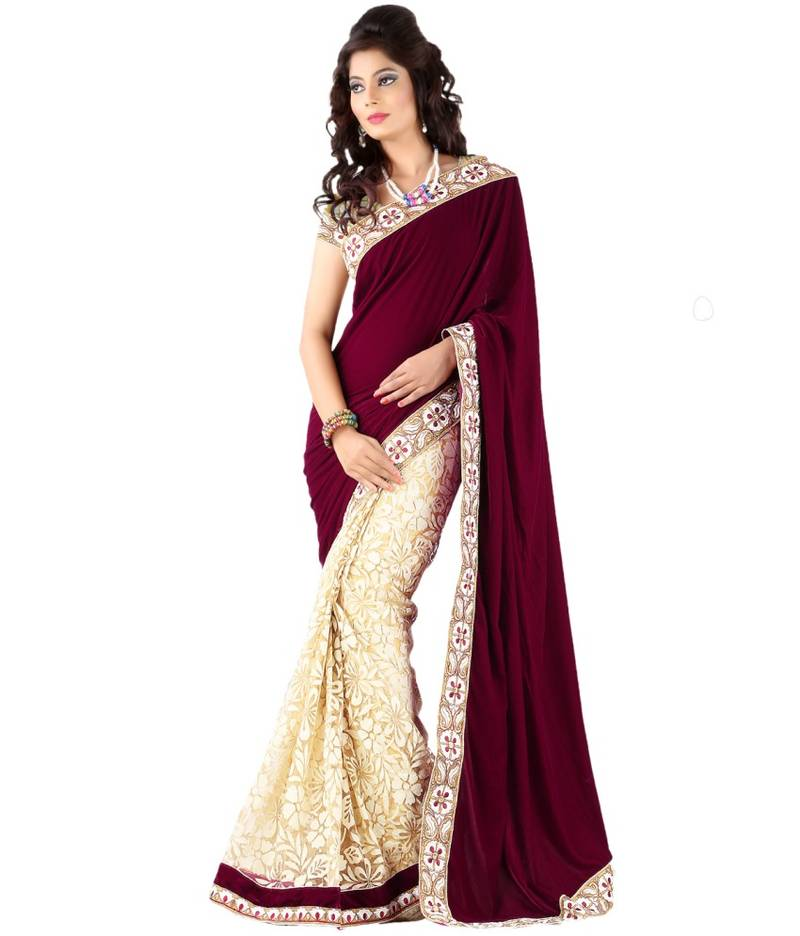 Buy Dezzy Fashion Maroon Velvet-Brasso Saree Sari Online
