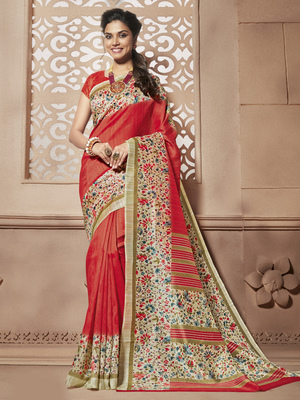 Red Printed cotton_silk saree With Blouse