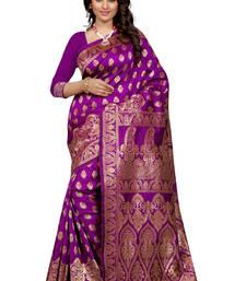 Buy Purple plain Banarasi silk saree With Blouse black-friday-deal-sale online