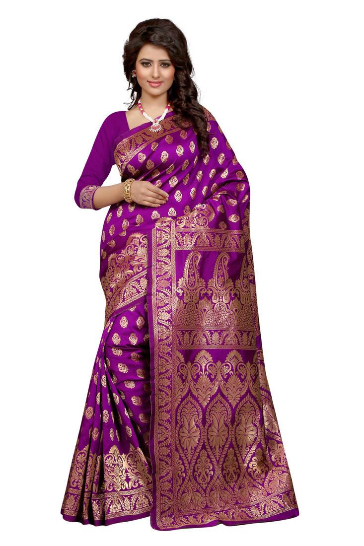 Buy Purple Plain Banarasi Silk Saree With Blouse Online