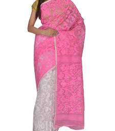 Buy Pink & White Bengal handloom  Silk Cotton  jamdani sari without Blouse handloom-saree online