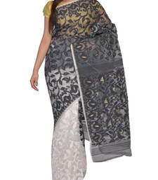 Buy Black & White Bengal handloom  Silk Cotton  jamdani sari without Blouse handloom-saree online