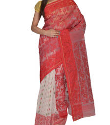Buy Multicolour  Bengal handloom  Silk Cotton  jamdani sari without Blouse handloom-saree online