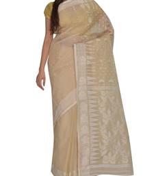Buy Beige & White Bengal handloomte Cotton Jari sari without Blouse handloom-saree online