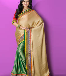 Buy Beige embroidered art silk saree with blouse party-wear-saree online