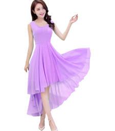 Buy Purple Georgette plain semi stitched kurti georgette-kurti online