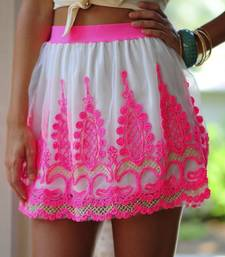 Buy White fancy thread work short skirt short-skirt online