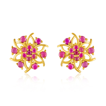 Gold Plated Celestial Floret Earrings with Ruby Stones For Women