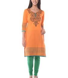Buy Orange Block Print Cotton Kurta long-kurti online