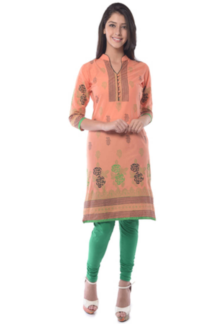 Buy Peach Block Print Cotton Kurta Online