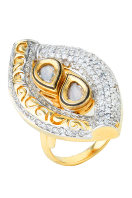 KNOWLEDGE Collection Antique Kundan Filigree Fusion Ring For Women