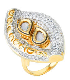 Buy KNOWLEDGE Collection Antique Kundan Filigree Fusion Ring For Women wedding-ring online