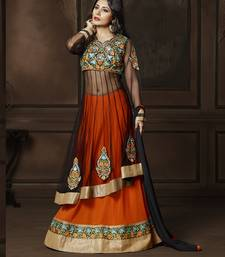 Buy Black embroidered georgette semi stitched salwar with dupatta indowestern online