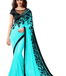 Buy Chiffon saree by Ravechi Fab (Blue) designer-embroidered-saree online