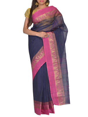 Navy Blue hand woven cotton saree