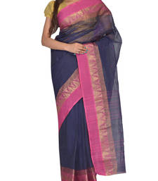 Buy Navy Blue hand woven cotton saree handloom-saree online