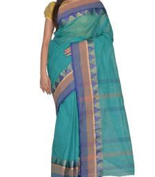 Buy Blue hand woven cotton saree handloom-saree online