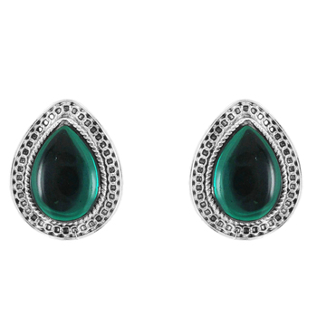 Donna Fashion Green Drop Stud Rhodium Plated Earrings with Crystals for Wome