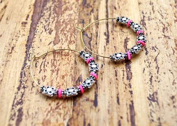 stylish silver crafted hoops