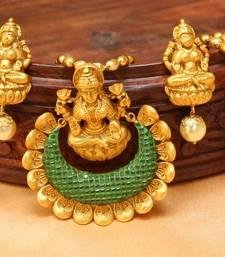 Buy designer matt finish one gram gold temple pendant set with chain buy designer matt finish one gram gold temple pendant set with chain online aloadofball Images