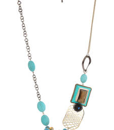 Buy BLISS Collection Turquoise Colour One Side Brooch Design Fashion Neclace For Women Necklace online