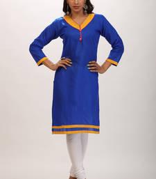 Buy Blue printed cotton stitched kurti kurtas-and-kurti online