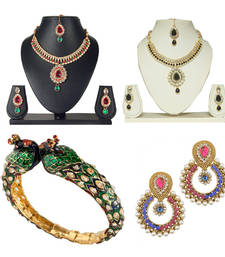 Buy Jewellery Necklace set And Kadas And Earring - Combo of four jewellery-combo online