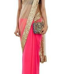 Buy light pink plain net saree With Blouse net-saree online