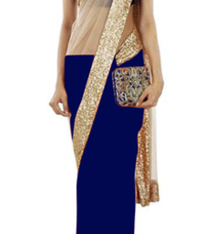 Buy blue plain net saree With Blouse net-saree online